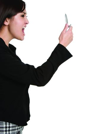 Yelling Asian Businesswoman Stock Photo - 4292240