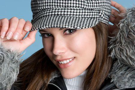 Winter Girl Wearing Hat Banco de Imagens