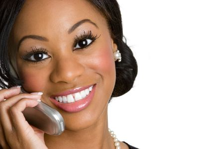 Smiling Woman on Phone Stock Photo - 4303461