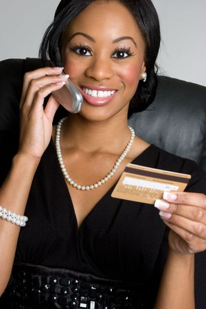 businesswoman card: Credit Card and Phone Woman