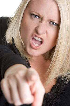 Mad Businesswoman Pointing Stock Photo - 4312946