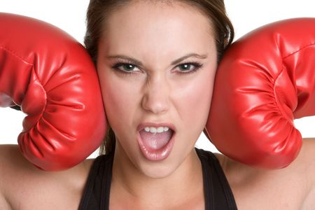 Angry Boxing Girl Stock Photo - 4312957