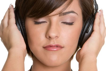 Girl Wearing Headphones Stock Photo - 4349331