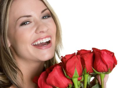 Laughing Woman With Roses