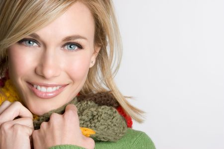 smile close up: Winter Woman Wearing Scarf
