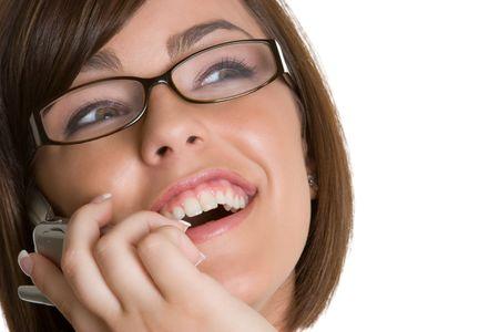 woman wearing glasses: Phone Woman Wearing Glasses