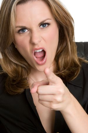 angry boss: Angry Businesswoman Pointing
