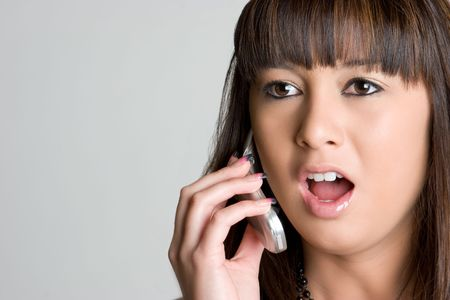 Shocked Asian Phone Girl Stock Photo - 4463319