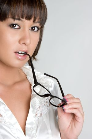 pony tail: Thinking Asian Girl