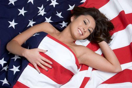 Asian Flag Woman Stock Photo - 4451464