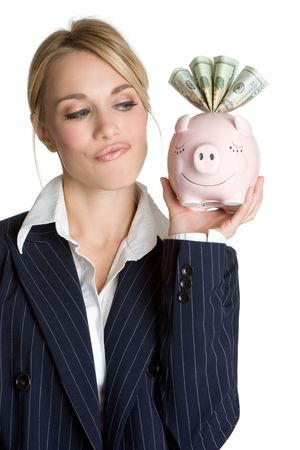 Thinking Piggy Bank Woman Stock Photo - 4439129