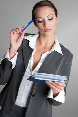 Thinking Checkbook Woman Stock Photo - 4463327