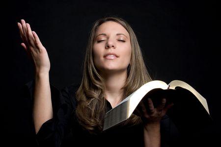 worshiping: Bible Woman