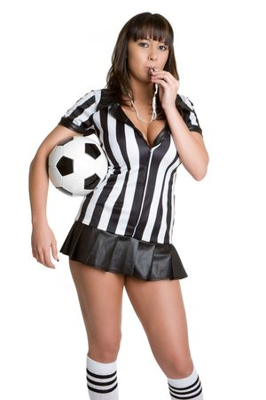 costume ball: Referee Blowing Whistle Stock Photo