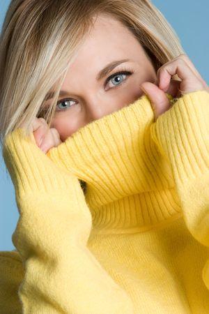 Yellow Sweater Woman Stock Photo - 4496066