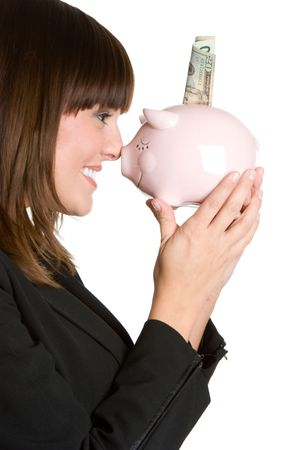 Businesswoman Holding Piggy Bank Stock Photo - 4530823