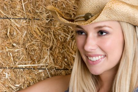 Beautiful Smiling Cowgirl Stock Photo - 4516022