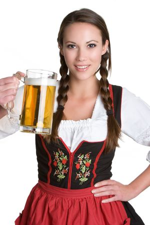 Woman Holding Beer Stock Photo