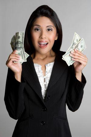 shocking: Businesswoman Holding Money Stock Photo