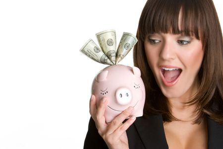 Shocked Piggy Bank Woman Stock Photo - 4573395