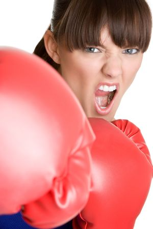 knock out: Yelling Female Boxer
