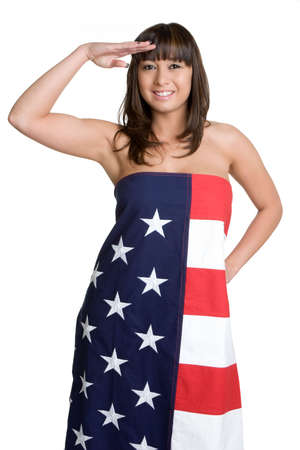 Asian American Saluting Stock Photo - 4597314