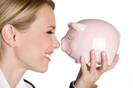 Piggy Bank Girl Banque d'images - 4598663