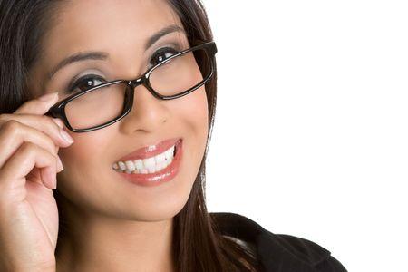 Asian Eyeglasses Woman Stock Photo