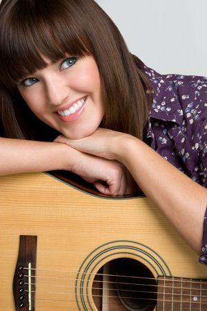 beautiful bangs: Smiling Guitar Girl