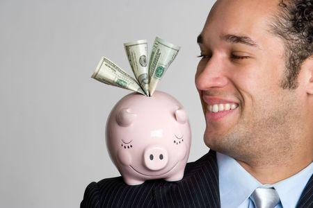 Man With Piggy Bank Stock Photo - 4652920