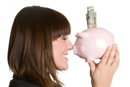 Woman Holding Piggy Bank Stock Photo - 4664669