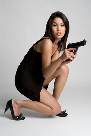 korean fashion: Gun Woman Stock Photo