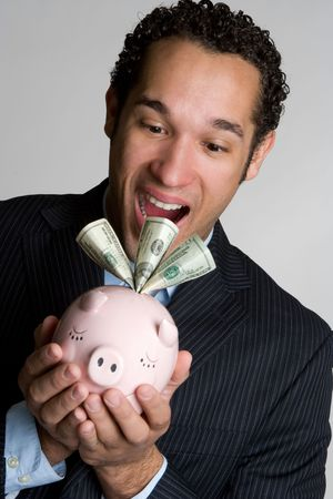 Shocked Piggy Bank Man Stock Photo - 4679620
