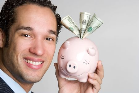 Man Holding Piggybank Stock Photo - 4709011