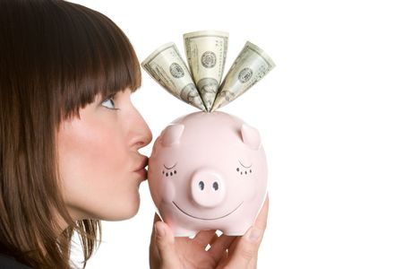Woman Kissing Piggybank Stock Photo - 4734303