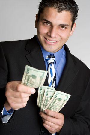 give money: Businessman Holding Money