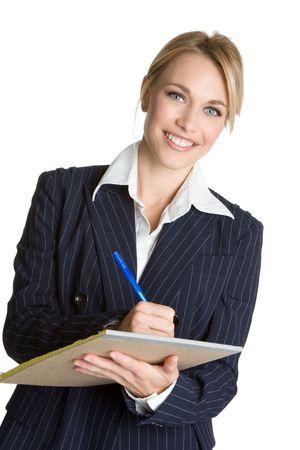 taking note: Businesswoman prendere appunti Archivio Fotografico