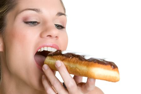Woman Eating Donut photo