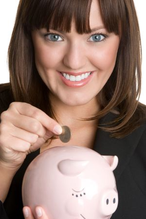 Woman Holding Piggy Bank Stock Photo - 4817117