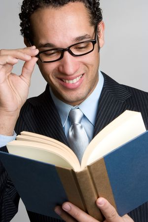 Businessman Reading Book Banque d'images
