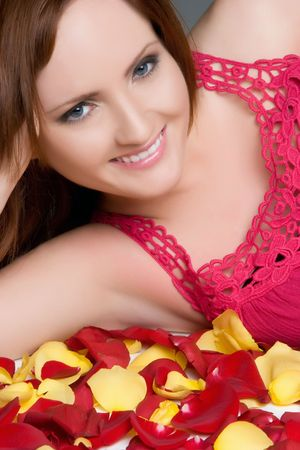 Woman in Rose Petals Stock Photo - 4870275