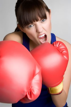 girl punch: Female Boxer