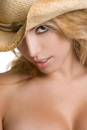 Sexy Cowgirl Wearing Hat photo