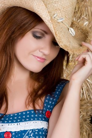 Beautiful Cowgirl Wearing Hat Stock Photo - 4870281
