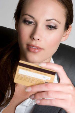 Mujer Celebración de Tarjeta de Crédito Foto de archivo - 4918214