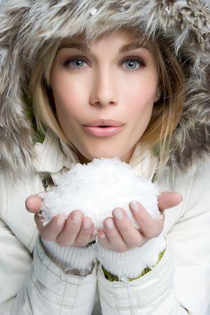 fur hood: Girl Blowing Snow
