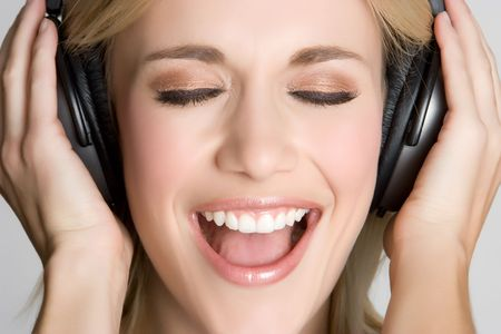 woman mouth open: Singing Headphones Girl
