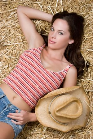 Pretty Country Girl in Hay Stock Photo - 4946482