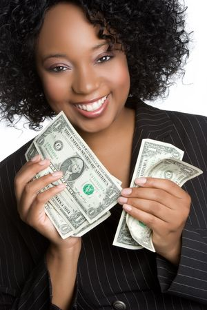 american currency: Black Woman Holding Money LANG_EVOIMAGES
