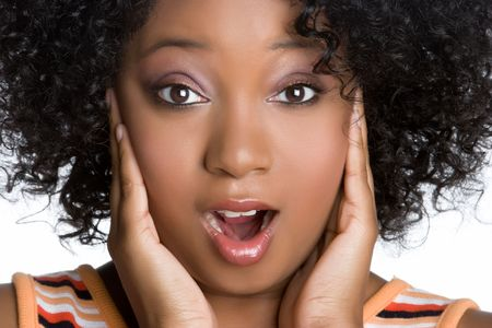 feeling up: Shocked African American Woman